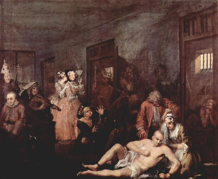 疯人院, 1735 通过 William Hogarth (1697-1764, United Kingdom) | 幀畫冊專輯 | WahooArt.com