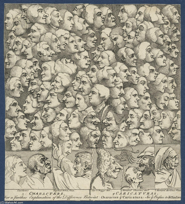 人物和Caricaturas, 1743 通过 William Hogarth (1697-1764, United Kingdom) | WahooArt.com