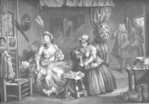 William Hogarth - 一个 Harlot's Progress , plate 3