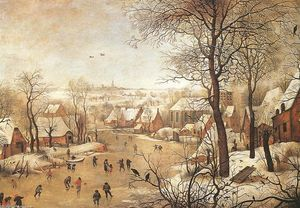Pieter Bruegel The Younger - 冬天 风景  与 a  禽流- `trap`
