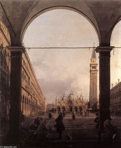 Giovanni Antonio Canal (Canaletto) - Piazza San Marco :  寻找 从东  的 North-West  角落