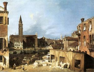 Giovanni Antonio Canal (Canaletto) - 石匠的院子