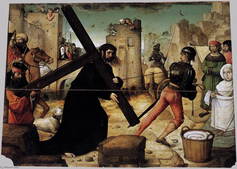 """""""背着十字架"""", 油在面板上"""