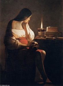 Georges De La Tour - Magdalen of 小夜灯