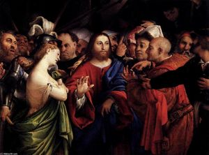 Lorenzo Lotto -  基督  和 女性  采取 在 `adultery