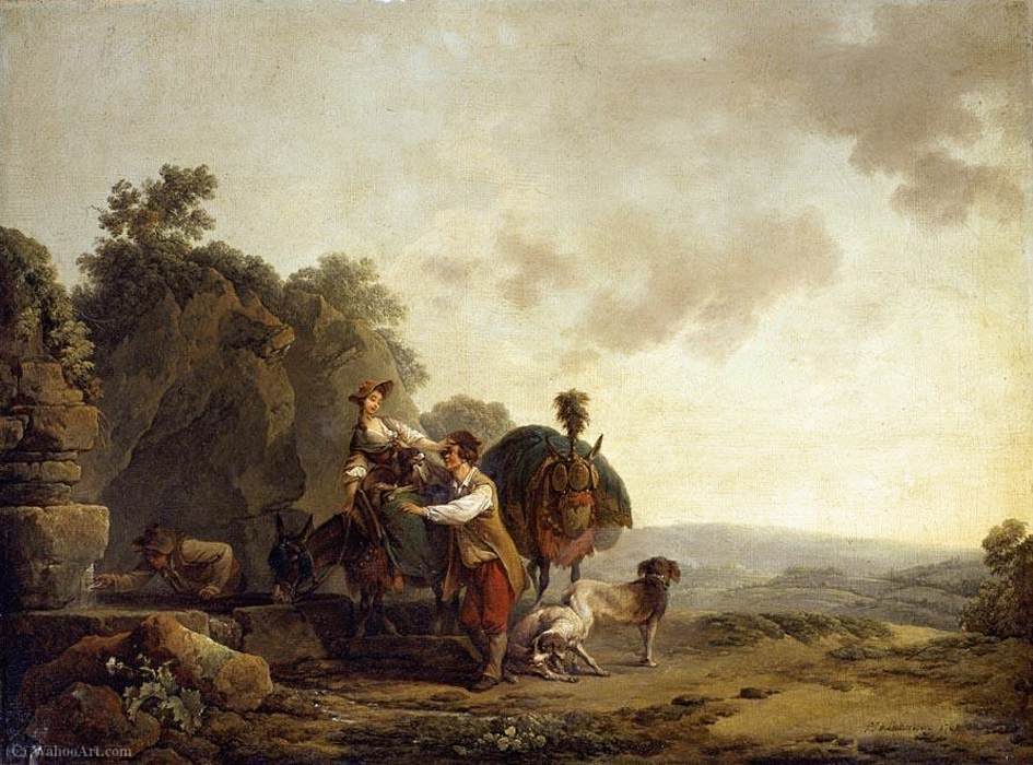 旅行者 在  一个   以及 , 1769 通过 Philip Jacques De Loutherbourg (1740-1812, France) | WahooArt.com