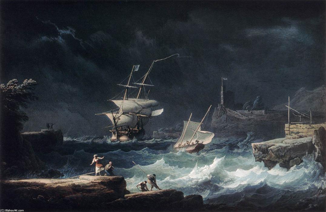 """""""大风在海上"""", 水粉画 通过 alexandre jean nol (1752-1834, france)"""