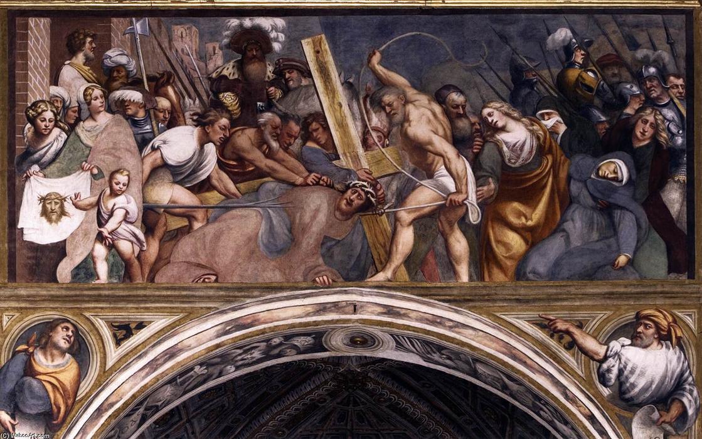 """""""背着十字架"""", 壁画 通过"""