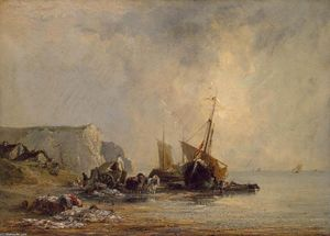 Richard Parkes Bonington - 诺曼底附近的海岸船