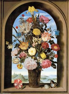 Ambrosius Bosschaert The Elder -  花束 在 一个 拱形的  窗口