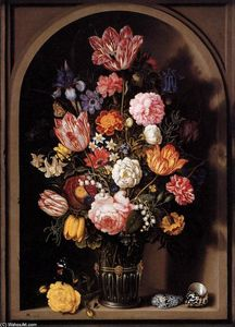 Ambrosius Bosschaert The Elder -  花束 `of` 花儿  在 花瓶