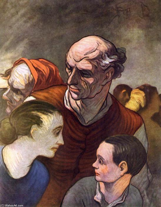 家人 路障 在 1848, 1854 通过 Honoré Daumier (1808-1879, France) | 手工畫 | WahooArt.com