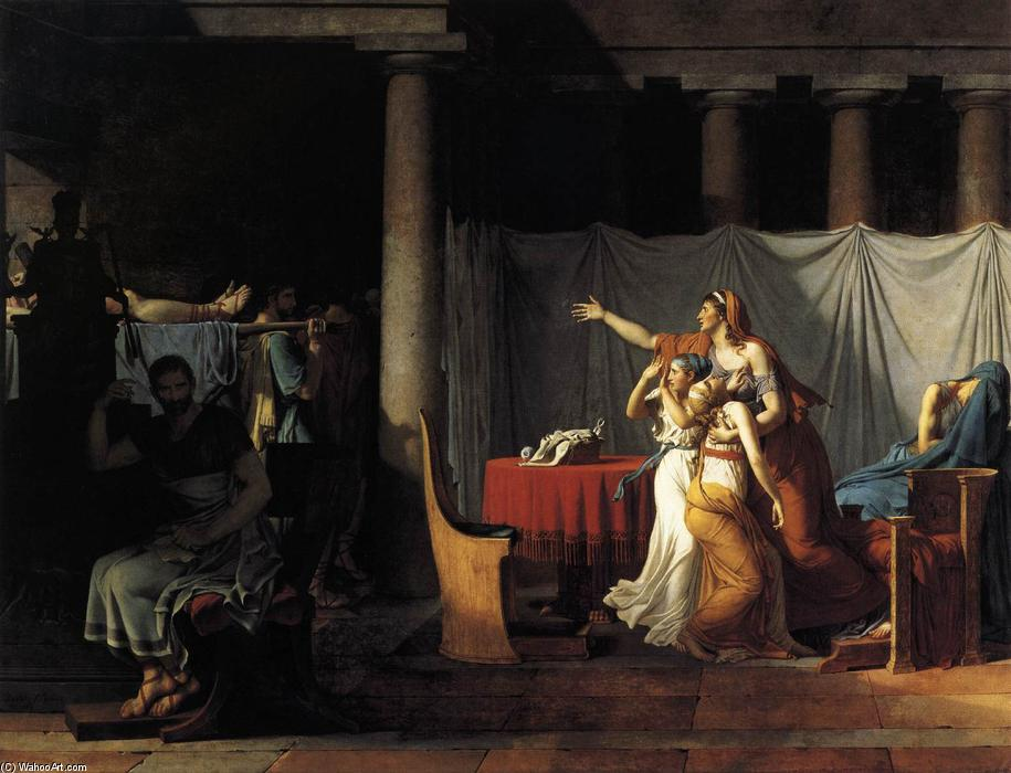 该刀斧手 回国 布鲁特斯 尸体  他 儿子, 1789 通过 Jacques Louis David (1748-1800, France) | 藝術再現 Jacques Louis David | WahooArt.com