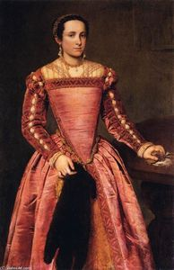 Giovanni Battista Moroni - 女性  在 红  礼服