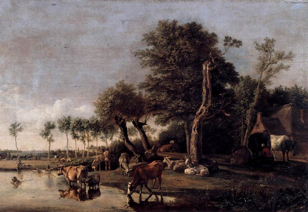 奶牛 反射的 在  的  水, 油在面板上 通过 Paulus Potter (1625-1654, Netherlands)