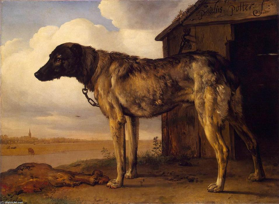 狼 猎犬, 1650 通过 Paulus Potter (1625-1654, Netherlands) | 畫再現 | WahooArt.com