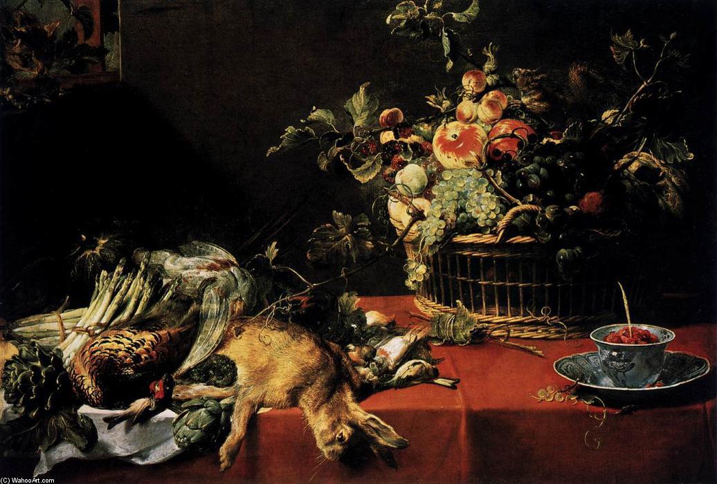 涂色静物与水果篮,游戏 2 由Frans Snyders 买手涂油画