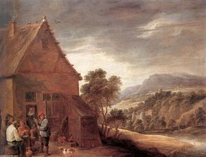 David The Younger Teniers - 在酒店前