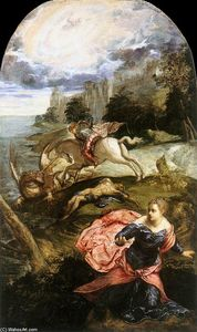 Tintoretto (Jacopo Comin) -  st `george`  和  龙