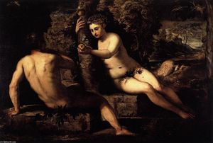 Tintoretto (Jacopo Comin) - 诱惑 的  亚当