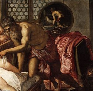 Tintoretto (Jacopo Comin) - 金星,火星,和火神(详细)