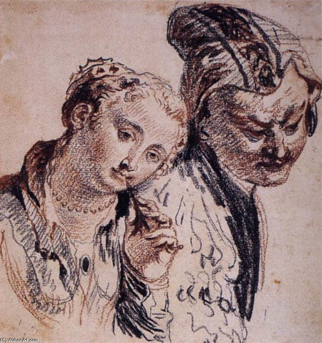 素描与这两个数字 2 , 粉笔 通过 Jean Antoine Watteau 1684 1721,