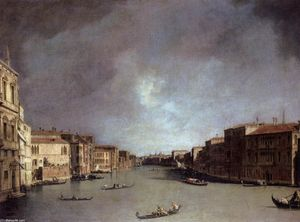 Giovanni Antonio Canal (Canaletto) -  大 运河  寻找  从  宫殿 巴尔比