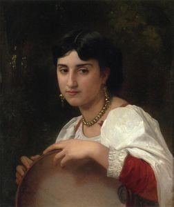 William Adolphe Bouguereau - L'Italienne 太子港 tambourin ( 也被称为  意大利 女性 与 铃鼓 )