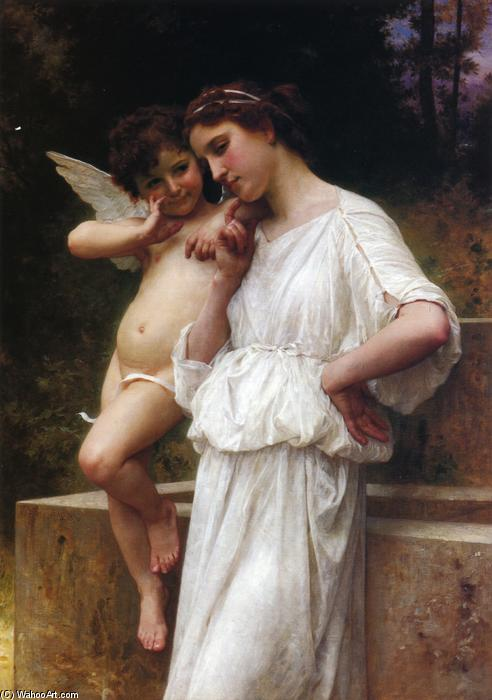 爱的Scerets, 油画 通过 William Adolphe Bouguereau (1825-1905, France)