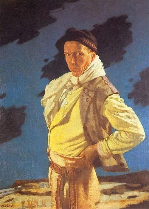 从阿兰的男人, 油画 通过 William Newenham Montague Orpen (1878-1931, Ireland)
