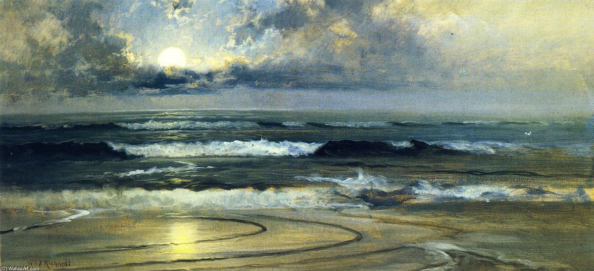月光 思考, 布面油画 通过 William Trost Richards (1833-1905, United States)