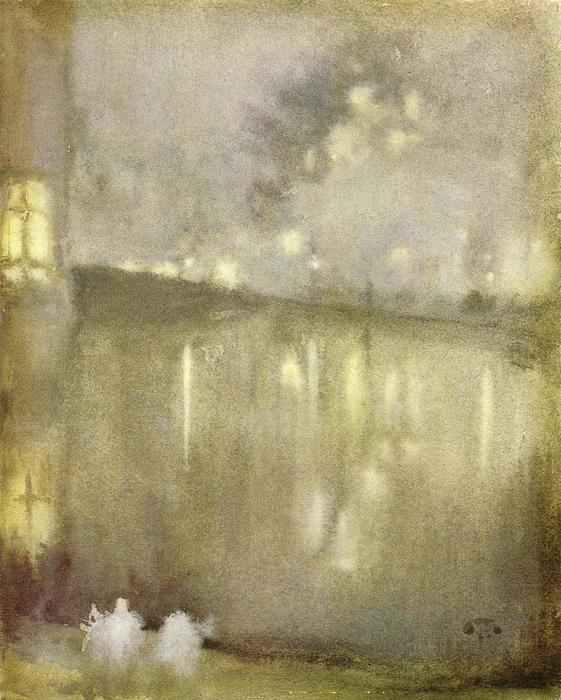 夜曲 灰色  和  金  -   运河  荷兰 , 1883 通过 James Abbott Mcneill Whistler (1834-1903, United States) | 手工畫 | WahooArt.com