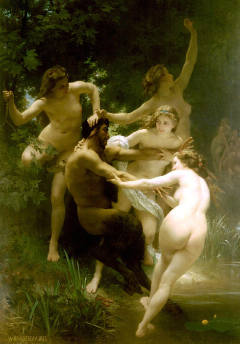 Nymphes等satyre(也称为若虫和Saytr), 1873 通过 William Adolphe Bouguereau (1825-1905, France) | 畫再現 | WahooArt.com