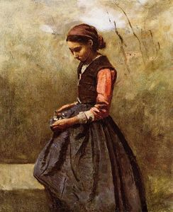 Jean Baptiste Camille Corot - 沉思年轻女子