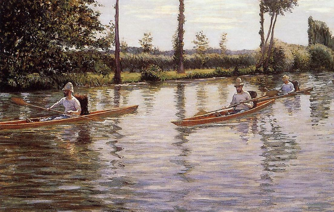 Perissoires河畔L Yerres(又称泛舟Yerres), 油画 通过 Gustave Caillebotte (1848-1894, France)