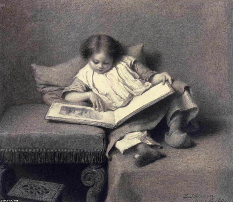图片  书, 1855 通过 Jonathan Eastman Johnson (1824-1906, United Kingdom) | 幀畫冊專輯 | WahooArt.com