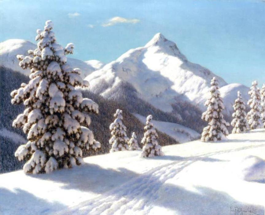 松树的雪, 油画 通过 ivan fedorovich choultse (1875-1932, russia)