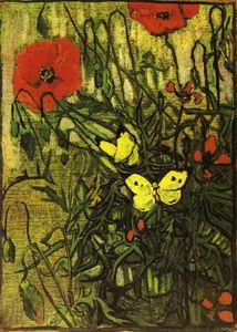 Vincent Van Gogh - 罂粟和Buttreflies