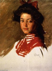 William Merritt Chase - 素描肖像 : 女孩在 Middy 衬衫