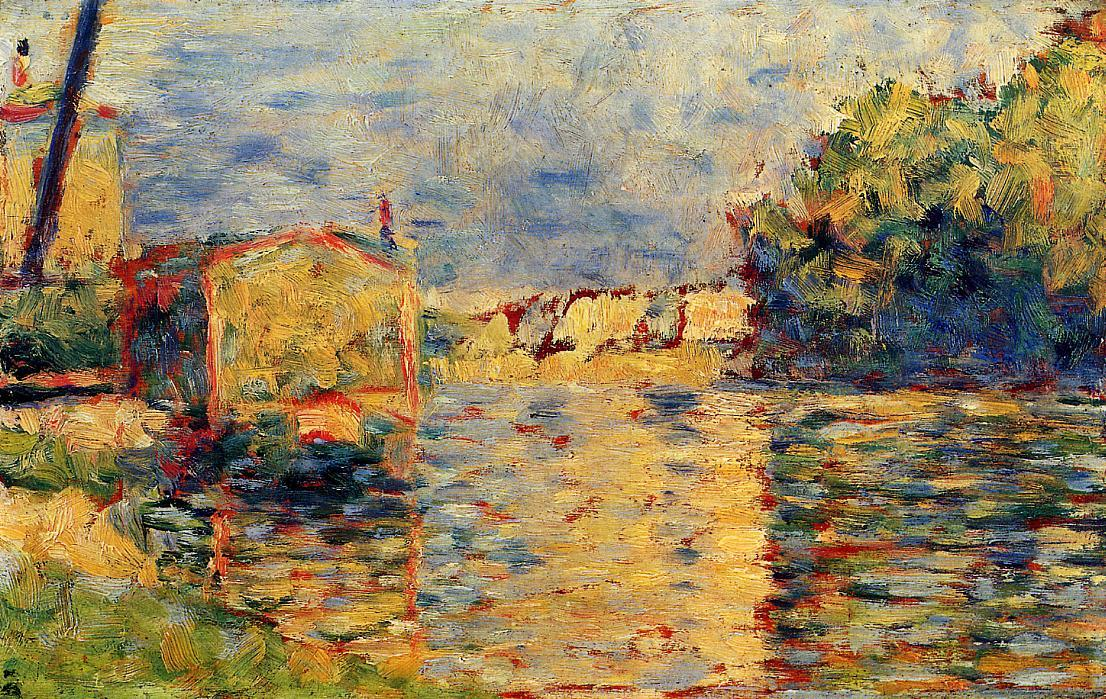 River's 边缘, 蛋彩画 通过 Georges Pierre Seurat (1859-1891, France)