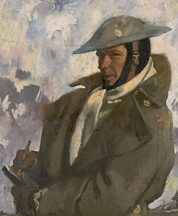 自画像在制服, 1917 通过 William Newenham Montague Orpen (1878-1931, Ireland)