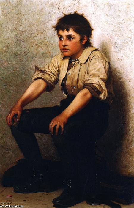 擦鞋童, 油画 通过 John George Brown (1831-1913, United Kingdom)