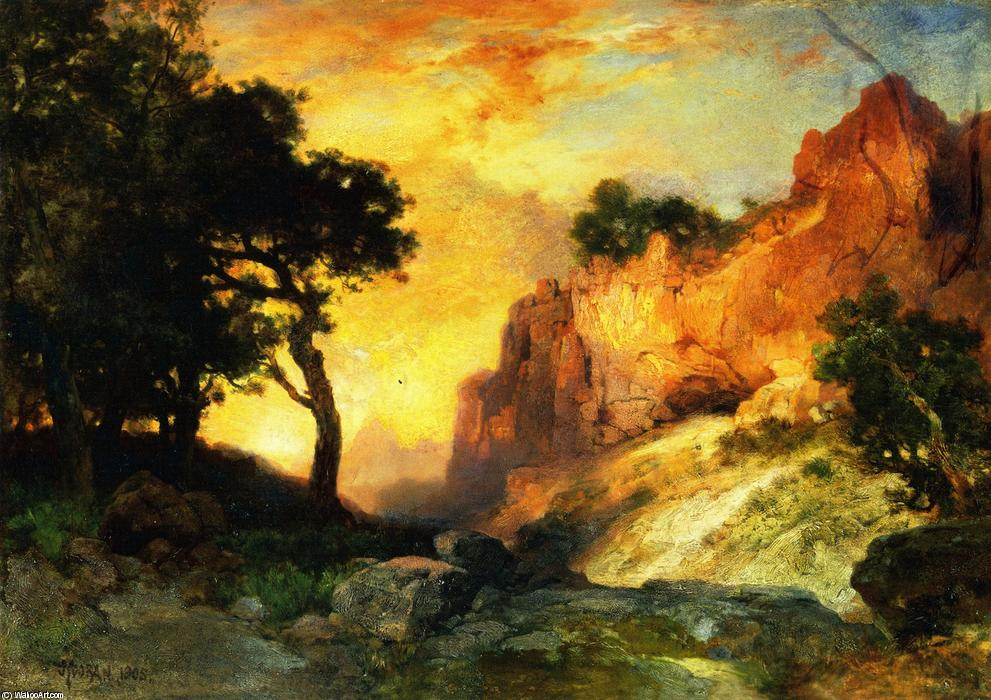 顺序 畫複製 | 一个  方 峡谷  大 峡谷 亚利桑那, 1905 通过 Thomas Moran (1837-1926, United Kingdom) | WahooArt.com