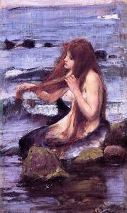 John William Waterhouse - 草图 一个  美人鱼