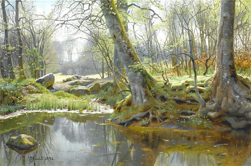 春天 森林 , 油画 通过 Peder Mork Monsted (1859-1941, Denmark)