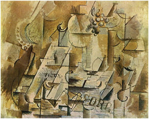 Georges Braque - 静物与葡萄的束