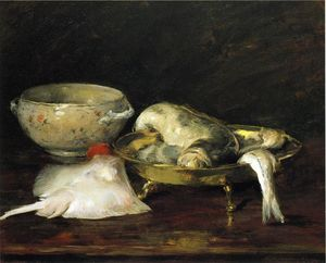 William Merritt Chase - 静物  与 鱼儿