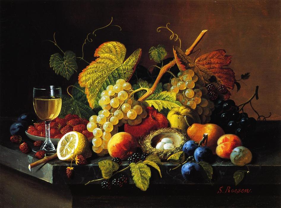 静物与水果 13 , 油画 通过 Severin Roesen 1815 1872, Germany
