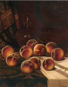 William Mason Brown - 静物  与 `peaches`