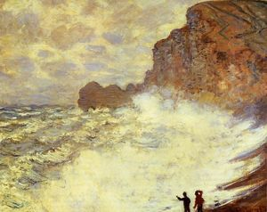 Claude Monet - stormy`  天气 在  etretat